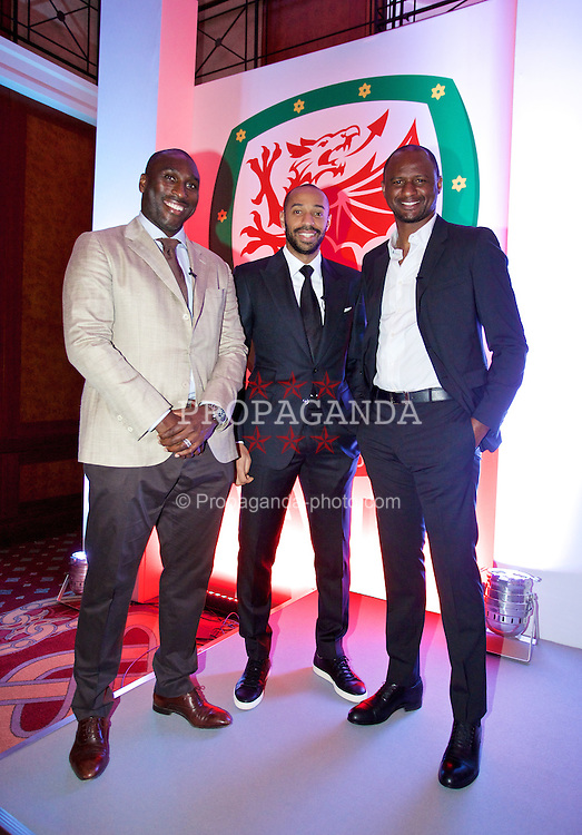 NEWPORT, WALES - Friday, May 29, 2015: Sol Campbell, Thierry Henry and Patrick Vieira during the Football Association of Wales' National Coaches Conference 2015 at the Celtic Manor Resort. (Pic by David Rawcliffe/Propaganda)