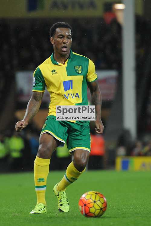 Norwichs Andre Wilson in action during the Norwich v Arsenal game in the Barclays Premier League on Sunday 29th November 2015 at Carrow Road