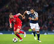 4th September 2017, Hampden Park, Glasgow, Scotland; World Cup Qualification, Group F; Scotland versus Malta; Scotland's Matt Phillips races past Malta's Joseph Zerafa