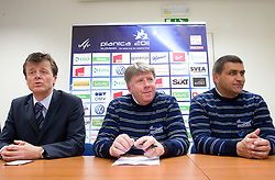 Matija Vojsk of SZS, Drago Bahun, president of the Organizing committee and Jure Zerjav, mayor of Kranjska Gora  at press conference of Planica's Organizing committee , before FIS Ski jumping World Cup Finals Planica 2011 on March 15, 2011 in SZS, Ljubljana, Slovenia. (Photo By Vid Ponikvar / Sportida.com)