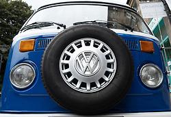 Detail of front of vintage VW Camper van