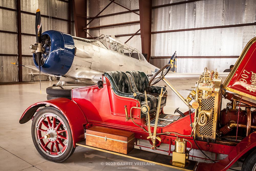 AT-6 Texan and 1907 Renault Racing Roadster, Planes and Cars at the Santa Fe Airport, 2013 Santa Fe Concorso.
