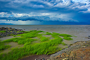 Shoreline along the Gulf of St. Lawrence with storm<br />Saint-Roch-des-Aulnaies<br />Quebec<br />Canada
