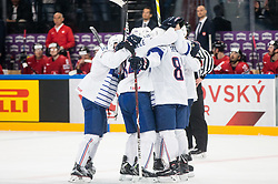 Players of France celebrate after third goal during the 2017 IIHF Men's World Championship group B Ice hockey match between National Teams of Switzerland and France, on May 9, 2017 in Accorhotels Arena in Paris, France. Photo by Vid Ponikvar / Sportida