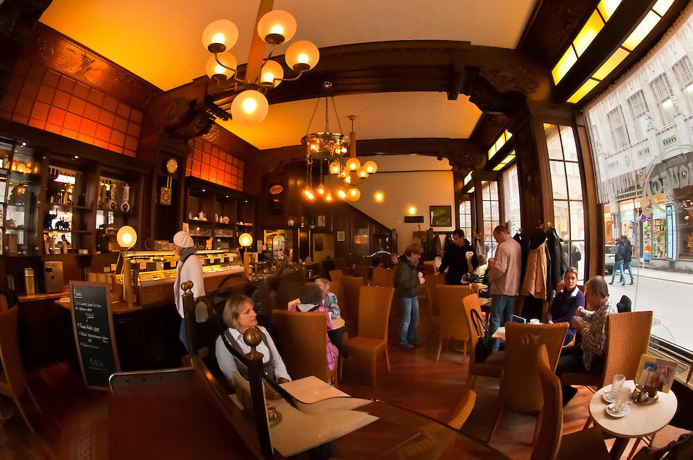 Interior, Riquet Stadtcafe (coffee house), Leipzig, Saxony, Germany