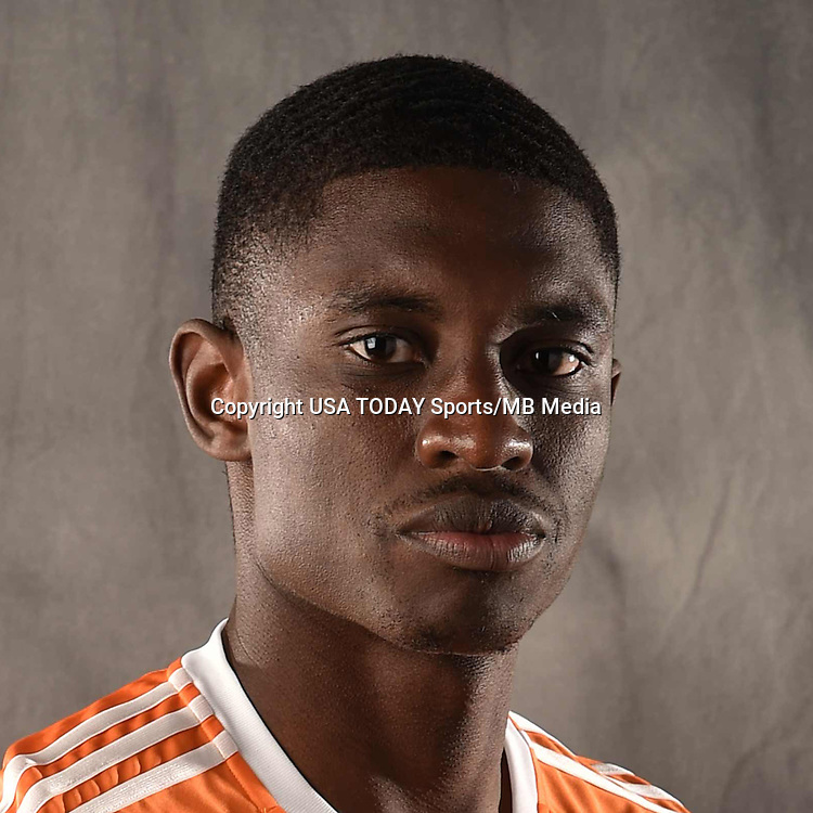 Feb 25, 2016; USA; Houston Dynamo player Jalil Anibaba poses for a photo. Mandatory Credit: USA TODAY Sports