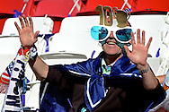 General view showing Real Madrid fan signalling that he hopes his team win their 10th European Cup/Champions League title pictured ahead of the UEFA Champions League Final at Estádio da Luz, Lisbon<br /> Picture by Ian Wadkins/Focus Images Ltd +44 7877 568959<br /> 24/05/2014