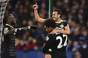 Chelsea midfielder Pedro (11) celebrates with Chelsea midfielder Willian (22) and Chelsea midfielder Victor Moses (15) after scoring a goal to make it scores a goal to make it 0-3 during the Premier League match between Leicester City and Chelsea at the King Power Stadium, Leicester, England on 14 January 2017. Photo by Jon Hobley.