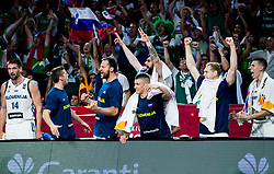 Gasper Vidmar of Slovenia, Aleksej Nikolic of Slovenia, Sasa Zagorac of Slovenia, Matic Rebec of Slovenia, Ziga Dimec of Slovenia, Jaka Blazic of Slovenia, Vlatko Cancar of Slovenia react during basketball match between National Teams of Slovenia and Latvia at Day 13 in Round of 16 of the FIBA EuroBasket 2017 at Sinan Erdem Dome in Istanbul, Turkey on September 12, 2017. Photo by Vid Ponikvar / Sportida