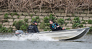 "Mortlake/Chiswick, GREATER LONDON. United Kingdom Cambridge University Boat  Club, 2nd Eight, ""Goldie"" Coaching Team, Left Donald LEGGETT and right Richard CHAMBERS,  Pre Boat Race Fixture  Thames RC. 2017 Boat Race The Championship Course, Putney to Mortlake on the River Thames.<br /> <br /> Saturday  18.03.2017<br /> <br /> [Mandatory Credit; Peter SPURRIER/Intersport Images]"