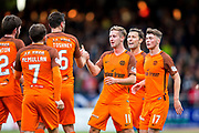 Dundee United midfielder Billy King (#11) celebrates Dundee United's first goal (1-1) during the Betfred Scottish Cup match between Dundee and Dundee United at Dens Park, Dundee, Scotland on 9 August 2017. Photo by Craig Doyle.