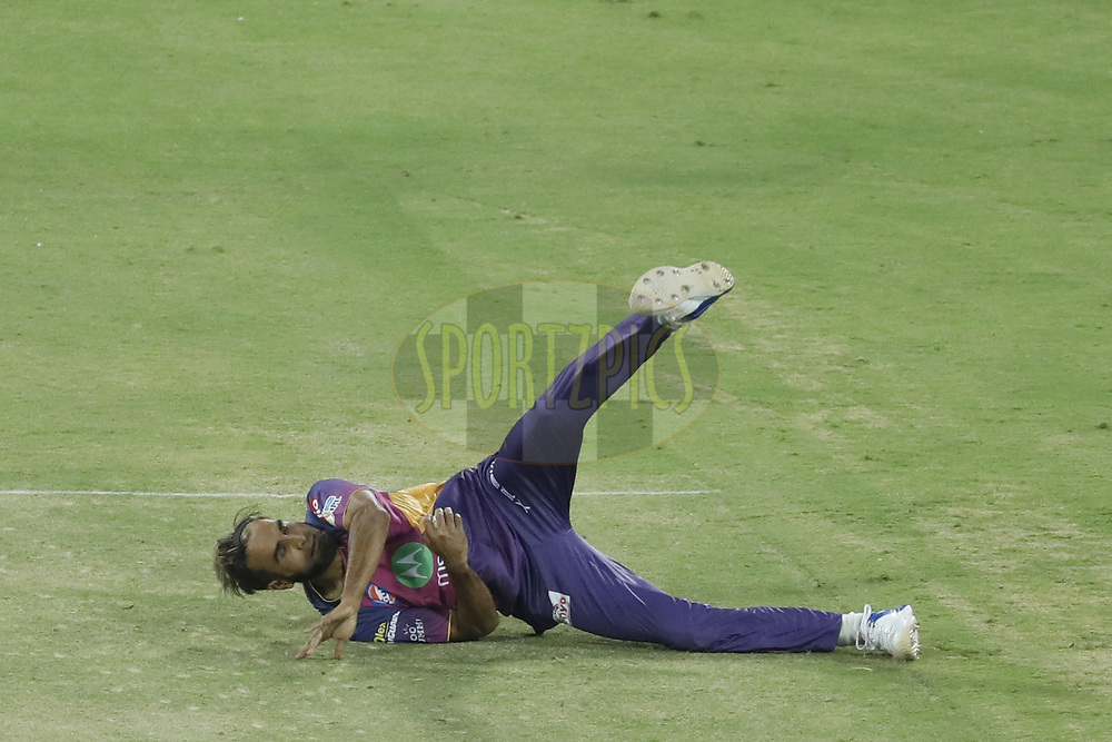 Imran Tahir of Rising Pune Supergiant takes the catch of Axar Patel  of Kings X1 Punjab during match 4 of the Vivo 2017 Indian Premier League between the Kings X1 Punjab and the rising Pune Supergiant held at the Holkar Cricket Stadium in Indore, India on the 8th April 2017<br /> <br /> Photo by Arjun Singh - IPL - Sportzpics