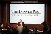 """DENVER - FEBRUARY 26: MediaNews Group CEO William Dean Singleton addresses the media about the closure of the competing newspaper in his Denver, Co. market. Singleton is the founder, vice chairman and chief executive officer of MediaNews Group, the fourth-largest newspaper company in the United States (including the Denver Post) in terms of circulation, with 53 daily papers totaling 2.7 million subscriptions daily and 3 million on Sunday. The Rocky Mountain News, one of two of Denver's daily newspapers, announced Thursday February 26, 2009 that tomorrow's edition would be the final one of the newspaper's almost 150 years of publishing. The newspaper had been put up for sale by its owner, E.W. Scripps, but the search for a buyer proved unsuccessful. """"Denver can't support two newspapers any longer,"""" Scripps CEO Rich Boehne told staffers, some of whom cried at the news. """"It's certainly not good news for you, and it's certainly not good news for Denver."""" The Rocky was founded in 1859 by William Byers, one of the most influential figures in Colorado history. Scripps bought the paper in 1926 and immediately began a newspaper war with The Post. That fight ebbed and flowed over the course of the rest of the 20th century, culminating in penny-a-day subscriptions in the late '90s. The closure will cost 228 newsroom employees their jobs..(Photo by Marc Piscotty/ © 2009)"""