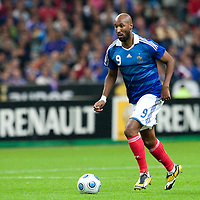 05 September 2009: French forward Nicolas Anelka runs with the ball during the World Cup 2010 qualifying football match France vs. Romania (1-1), on September 5, 2009 at the Stade de France stadium in Saint-Denis, near Paris, France.