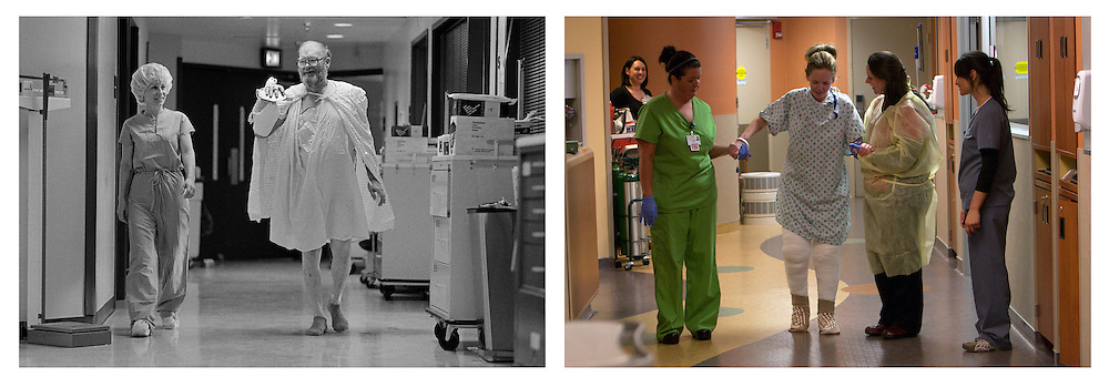 Scenes from the University of Louisville Hospital Burn Intensive Care Unit.  I photographed the unit in 1986 and twenty-five years later in 2011.  In that span of time the treatment protocols have changed.  The compassion and caring by the nurses and doctors has not.