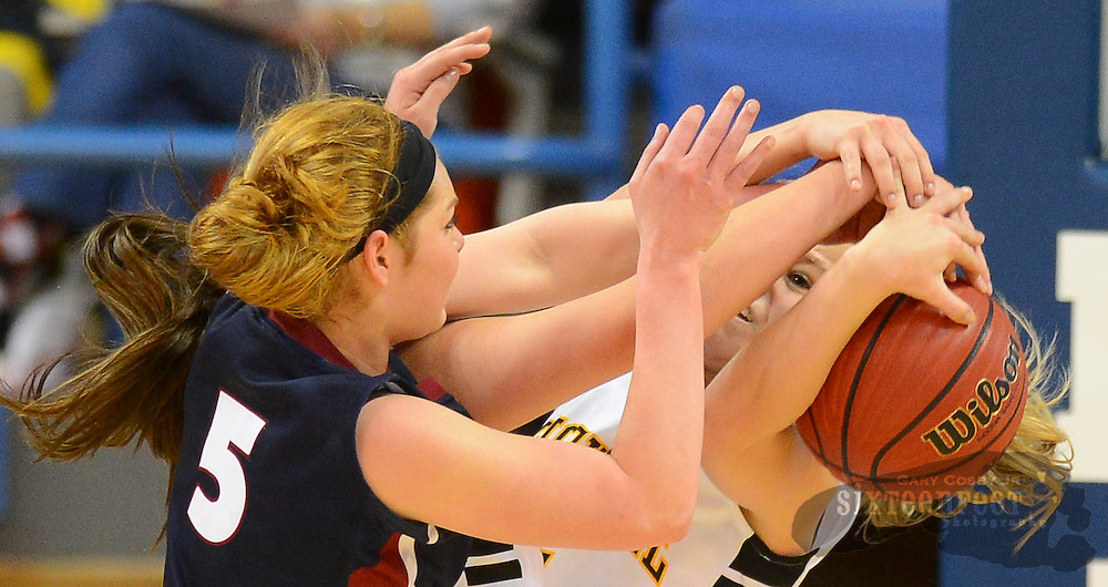 Gary Cosby Jr./Decatur Daily     Oneonta's Grace Coefield fights for a rebound with Priceville's Ashlee Quinn during Priceville's Northwest Regional final against Oneonta Saturday at Wallace State in Hanceville.