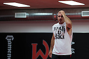 Coach Mike Winkeljohn looks on during sparing at Jackson Wink MMA in Albuquerque, New Mexico on June 9, 2016.
