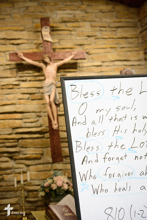 A white board lays in the nave during adult Bible class on Transfiguration Sunday, Feb. 7, 2016, at Peace Lutheran Church in Sussex, Wis., LCMS Communications/Erik M. Lunsford