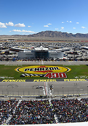 March 4, 2018 - Las Vegas, NV, U.S. - LAS VEGAS, NV - MARCH 04: Kevin Harvick (4) Stewart-Haas Racing Ford Fusion crosses the starting line to complete a lap during the Monster Energy NASCAR Cup Series Pennzoil 400 on March 04, 2018 at Las Vegas Motor Speedway in Las Vegas, NV. (Photo by Chris Williams/Icon Sportswire) (Credit Image: © Chris Williams/Icon SMI via ZUMA Press)