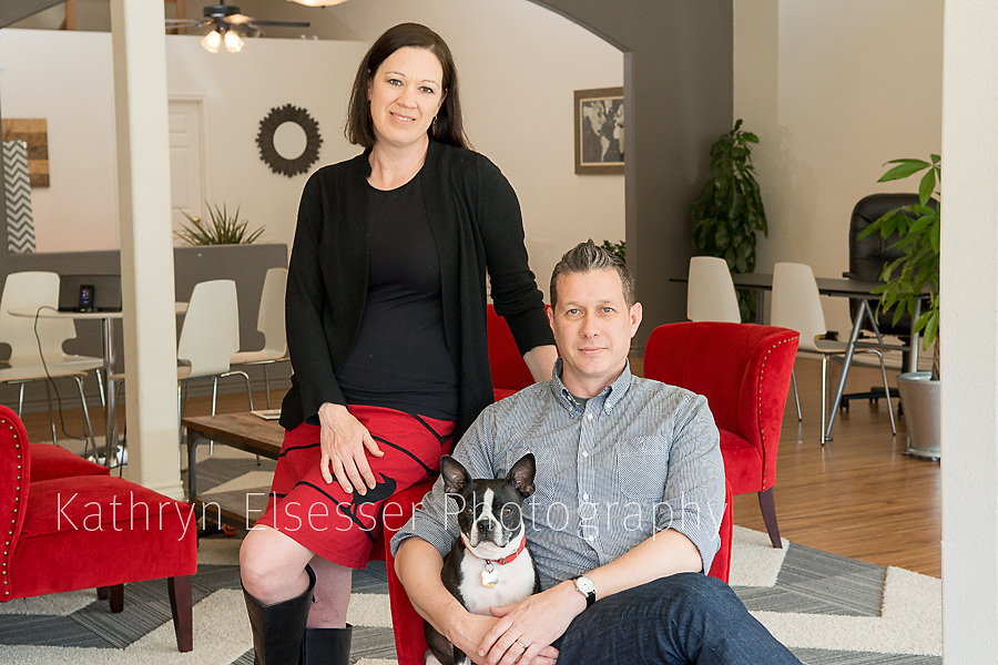 Carrie and Gabe Kieselhorst of Wix Agency, LLC in the Montavilla Business District in Portland Oregon with their dog.
