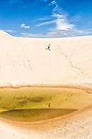 Sandboard nas dunas da Praia da Joaquina. Florianópolis, Santa Catarina, Brasil. / Sandboarding on the dunes of Joaquina Beach. Florianópolis, Santa Catarina, Brazil.