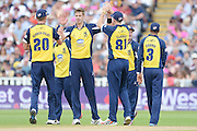 Boyd Rankin and Birmingham Bears celebrates the wicket of Ben Duckett during the NatWest T20 Blast semi final match between Northamptonshire County Cricket Club and Warwickshire County Cricket Club at Edgbaston, Birmingham, United Kingdom on 29 August 2015. Photo by David Vokes.