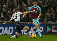 Football - 2018 / 2019 Premier League - Tottenham Hotspur vs. Burnley<br /> <br /> Ben Davies (Tottenham FC)  gets across to block Chris Wood (Burnley FC) at Wembley Stadium.<br /> <br /> COLORSPORT/DANIEL BEARHAM