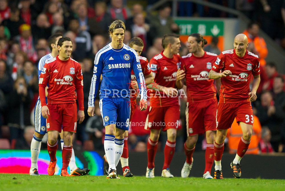 LIVERPOOL, ENGLAND - Tuesday, May 8, 2012: Chelsea's Fernando Torres looks dejected as Liverpool celebrate the third goal during the final home Premiership match of the season at Anfield. (Pic by David Rawcliffe/Propaganda)