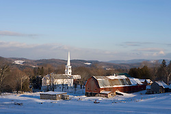 Downtown Peacham, Vermont in winter.