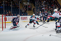 KELOWNA, CANADA - JANUARY 3: Marek Skvrne #9 of the Kelowna Rockets looks for the rebound after a save by Patrick Dea #30 of the Tri-City Americans on January 3, 2017 at Prospera Place in Kelowna, British Columbia, Canada.  (Photo by Marissa Baecker/Shoot the Breeze)  *** Local Caption ***