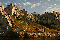 boats at the Baie des Singes (Monkey Bay)near Marseille-..Photograph by Owen Franken