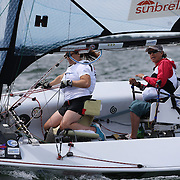 Skipper Sarah Everhart Skeels, Tiverton, RI, and Cindy Walker, Middletown, RI, the only all female team competing in The Skud 18 class, in action during the C. Thomas Clagett, Jr. Memorial Clinic & Regatta at Newport, Rhode Island hosted by Sail Newport at Fort Adams. <br /> The Clagett is North America's premier event for sailors with disabilities with sailors competing in the 3 Paralympic class boats and is an integral part of preparation for athletes preparing for  Paralympic and world championship racing. Newport, Rhode Island, USA. 26th June 2015. Photo Tim Clayton