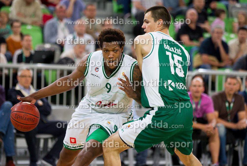 Deon Thompson  of Union Olimpija vs Jure Balazic of Krka during basketball match between KK Union Olimpija and KK Krka in 4th Final match of Telemach Slovenian Champion League 2011/12, on May 24, 2012 in Arena Stozice, Ljubljana, Slovenia.  (Photo by Vid Ponikvar / Sportida.com)