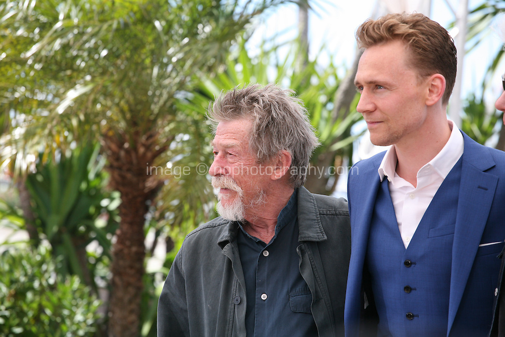 Actors John Hurt, Tom Hiddleston, at Only Lovers Left Alive Photocall Cannes Film Festival On Saturday 26th May May 2013