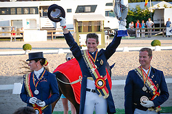 Podium Seniors Belgisch Kampioenschap dressuur<br /> 1. Simon MIssiaen<br /> 2. Claudia Fassaert<br /> 3. Philippe Jorissen<br /> Belgisch Kampioenschap Dressuur - Hulsterlo/ Meerdonk 2013<br /> © Dirk Caremans