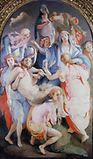 The Deposition from the Cross' 1528:  Jacobo Carruci Pontormo (1494-1556) Italian Mannerist painter.