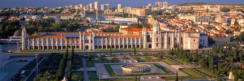 PORTUGAL, LISBON Mosteiro (Monastery) dos Jeronimos, 15thc masterpiece in 'Manueline' style architecture, with stadium and skyline