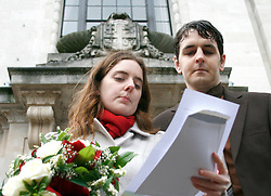 "Heterosexual couple, Tom Freeman and Katherine Doyle challenge the ban on straight civil partnerships at Islington Register Office London. Tuesday, 9 November. ..An islington spokesperson said: "" Like all councils we mus follow the requirements of the Civil Partnership Act of 2004, which sates that to qualify for a civil partnership, couples must be of the same sex. Whilst we can't legally accept the proposed civil partnership, we would be delighted to offer the couple a civil marriage"".© under license to London News Pictures. 09/11/2010"