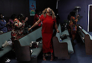 A woman dances during a Sunday church service at Unity Christian Center on Florence Ave in Los Angeles, California, April 15, 2012.  on Florence Ave in Los Angeles, California, April 15, 2012.the infamous intersection of Florence and Normandie in Los Angeles, California, April 5, 2012. This April 29 will be the 20 year anniversary of the flashpoint of the Los Angeles Riots in the area of Florence and Normandie in South Los Angeles. ©Jonathan Alcorn/JTA