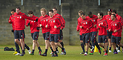 LIVERPOOL, ENGLAND - Wednesday, March 17, 2010: Liverpool's captain Steven Gerrard MBE leads his side during training at Melwood Training Ground ahead of the UEFA Europa League Round of 16 2nd Leg match against LOSC Lille Metropole. (Photo by David Rawcliffe/Propaganda)