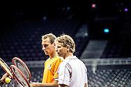 AMSTERDAM - Captain Jan Siemerink Training van het Davisteam tennis in de Ziggodome , Het team bestaat uit Robin Haase, Igor Sijsling, Thiemo de Bakker en Jean-Julien Rojer.  COPYRIGHT ROBIN UTRECHT