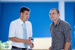 Tim Farcnik and journalist of Finance  Novica Mihajlovic at Press conference of Slovenian swimmer S. Isakovic, on June 23, 2009, in Atlantis, BTC, Ljubljana, Slovenia. (Photo by Vid Ponikvar / Sportida)