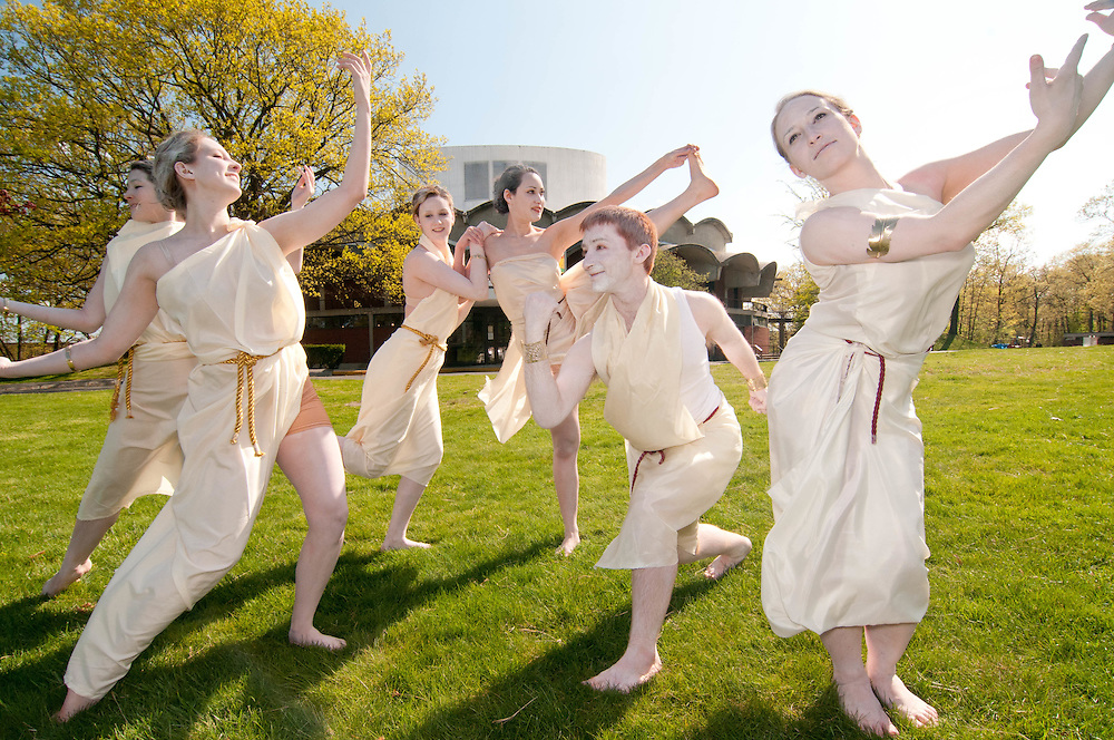 A student troupe of performers from Brandeis University at the Springfest celebration.