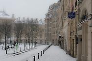 France. Paris 1st . Place Dauphine under the snow