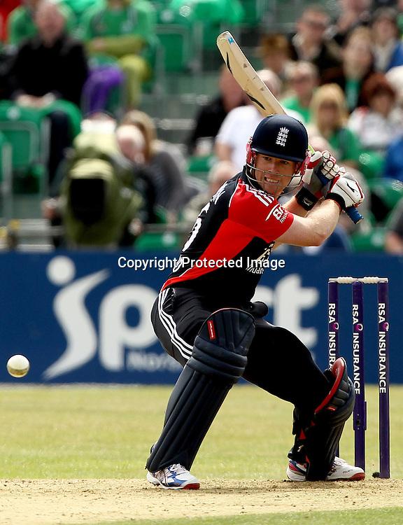 RSA Challenge ODI, Clontarf Cricket Club, Dublin, 25/8/2011<br />Ireland vs England<br />England's Eoin Morgan <br />Mandatory Credit &copy;INPHO/James Crombie  *** Local Caption ***