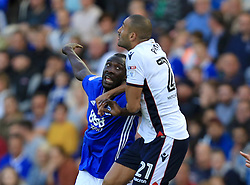Cheick Ndoye of Birmingham City and Filipe Morais of Bolton Wanderers challenge for a ball - Mandatory by-line: Paul Roberts/JMP - 15/08/2017 - FOOTBALL - St Andrew's Stadium - Birmingham, England - Birmingham City v Bolton Wanderers - Sky Bet Championship