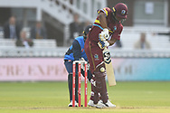 Evin Lewis of West Indies is trapped lbw by Rashid Khan (Afghanistan) of ICC World XI during the International Twenty/20 match at Lord's, London<br /> Picture by Simon Dael/Focus Images Ltd 07866 555979<br /> 31/05/2018