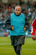 Dougie Imrie of Hamilton warms up along the touchline  during the Ladbrokes Scottish Premiership match between St Mirren and Hamilton Academical FC at the Paisley 2021 Stadium, St Mirren, Scotland on 13 May 2019.