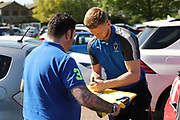 AFC Wimbledon goalkeeper George Long (1) signing autographs during the EFL Sky Bet League 1 match between AFC Wimbledon and Bury at the Cherry Red Records Stadium, Kingston, England on 5 May 2018. Picture by Matthew Redman.