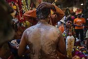 Jan. 24, 2016 - Kuala Lumpur, Batu Caves, Malaysia - <br /> <br /> Thaipusam Festival in Kuala Lumpur<br /> <br /> To mark this day, Hindus devotees pierce different part of their body with various metal skewers and carry pots of milk on their heads along couple of kilometers to celebrate the honor of Lord Subramaniam (Lord Murugan) in the Batu Caves, one of the most popular shrine outside India and the focal point to celebrate the Thaipusam Festival in Malaysia..Thaipusam is an annual Hindu festival, observed on the day of the full moon during the Tamil month of Thai, it is also a public holiday for many people.<br /> ©Exclusivepix Media